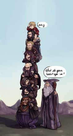 The Hobbit .. Cute! And Thorin is still Majestic. << Kili's having so much fun...<<<Bombur isn't having it