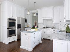 MB Wilson Interior Design - kitchens - super white quartzite, super white quartzite countertops, super white quartzite counters, shaker cabi...