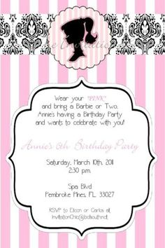Vintage Barbie Birthday Invitations