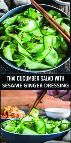 CUCUMBER SALAD Simple thai cucumber salad with carrots made just for you!Simple thai cucumber salad with carrots made just for you! Thai Cucumber Salad, Cucumber Recipes, Chicken Salad Recipes, Healthy Salad Recipes, Veggie Recipes, Vegetarian Recipes, Cooking Recipes, Thai Recipes, Recipes For Cucumbers