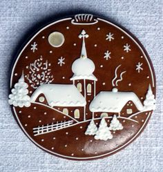 Gingerbread Village Scene Cookie