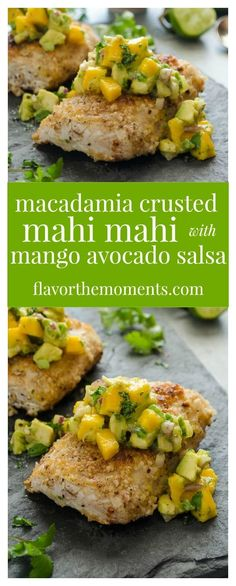Macadamia Crusted Mahi Mahi with Mango Avocado Salsa is an easy family-friendly dinner that's on the table in 30 minutes! #sponsored @Thrivealgae