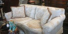 Cream and Gold 2-Cushion Loveseat
