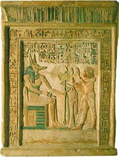 """Stele of the Royal Scribe Ipi Mid-14th century BC Limestone, mineral paint                                                                             H 95, w 71cm The Hermitage Museum """"The stele is fashioned in the form of a false door                                                                  and clearly came from the tomb of Ipi at Saggara.                                                                  The depiction reveals the influence of Amarna                             ..."""