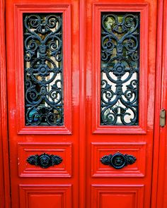 Door Photograph - Red Door in Paris - Paris France Photo - French Decor - Parisian Print - Paris Picture - Red and Black - Paris Wall Art