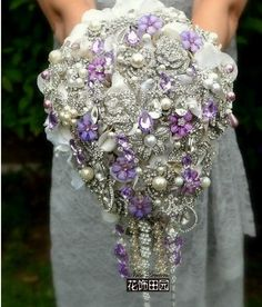Handmade Custom European Jewelry Crystal Brooch Bouquet Wedding Bridal