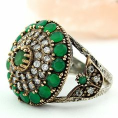 Antique Turkish Multi Gems Emerald Topaz Silver Ring Size 6.5 Jewelry - Rings