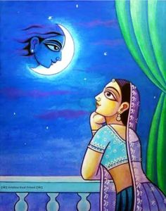 Radharani lost in thoughts of Krishna. Krishna Painting, Krishna Art, Baby Krishna, Buddha Painting, Radhe Krishna, Lord Krishna, Madhubani Art, Madhubani Painting, Diy Art Projects Canvas