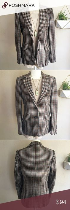 """Aquascutum London Checked Wool Blazer Wool blazer with a classic check pattern from the iconic London label Aquascutum.  This jacket is made to last! It was custom tailored by Dallas-based high-end suit maker R. W. Furr Clothiers. The size is 6, but it fits like a 2 or 4. I recommend comparing the following measurements to one of your own pieces. When laid flat: armpit to armpit 17.5"""", shoulder to hem length 25"""", waist 16.5"""", shoulders seam to seam in back 14.5"""", arm length from shoulder…"""