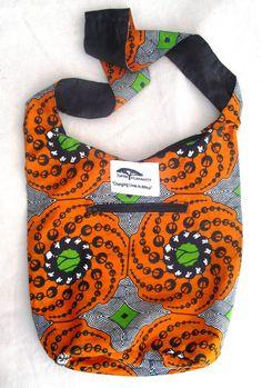 Acholi Sling Bag in Orange Black African Fabric by ThinkHumanity, $20.00