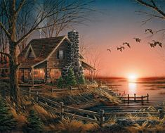 "A rustic lakeside cabin where the weather will always be just right, the boat ready, the dog waiting and the sunsets outstanding. Artist - Terry Redlin: Item 515: 1000 piece jigsaw puzzle: Finished size 24"" X 30"""