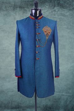 Royal #blue #linen zari worked Indo-western #Sherwani -IW164