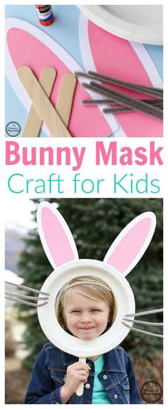 Cute Bunny Mask for kids with a paper plate (easter crafts for preschoolers) Easter Activities For Kids, Easter Crafts For Kids, Toddler Crafts, Preschool Activities, Easter Art, Hoppy Easter, Bunny Mask, Daycare Crafts, Rabbits