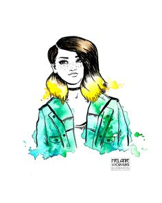 Watercolor and ink illustration girl with freckles, ombre hair and green parka - Aquarell und Tusche Illustration von Mädchen mit Sommersprossen, Ombre Haaren und grünem Parka Ink Illustrations, Illustration Girl, Mein Portfolio, Green Parka, Freckles Girl, Watercolor And Ink, Ombre Hair, Disney Characters, Fictional Characters