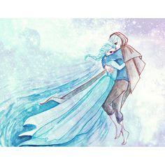 Jelsa Elsa(Frozen/Disney) and Jack Frost(Rise Of The Guardians/DreamWorks) Elsa Frozen, Frozen And Tangled, Disney Frozen, Frozen Stuff, Film Disney, Disney Art, Disney Fantasy, Jelsa, Snow Queen