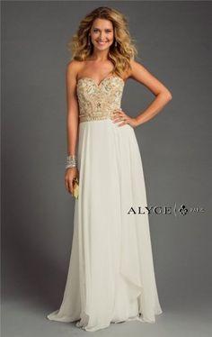 Ivory Gold Beaded Long Alyce 6420 Formal Dresses 2015