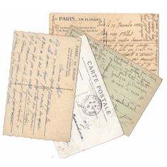 PARIS Vintage postcard set of 3 Hand written post cards from Paris,... ($11) ❤ liked on Polyvore featuring home, home decor and stationery