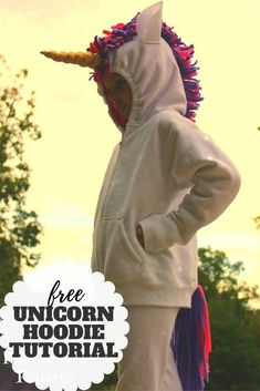 Unicorns are all the rage.  Follow this step by stepy tutorial on make a unicorn horn for a hoodie.  Download the free template. Little Girl Halloween Costumes, Halloween Sewing, Fall Sewing, Halloween Projects, Unicorn Hoodie, Dress Up Boxes, White Wings, Unicorn Birthday Parties, Print And Cut