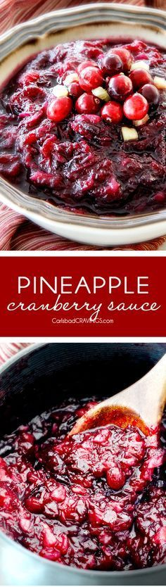 Pineapple Cranberry Sauce – so much better than canned, SO easy! and make ahead Sweet and tangy and so company rave worthy! This will be your new favorite cranberry sauce for Thanksgiving! via Carlsbad Cravings Cranberry Recipes, Cranberry Sauce, Fall Recipes, Holiday Recipes, Vegan Thanksgiving, Thanksgiving Sides, Sauce Recipes, Cooking Recipes, Carlsbad Cravings