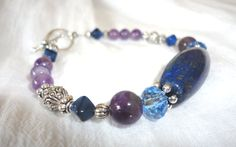Third Eye Bracelet  Amethyst  Lapis Lazuli  PSYCHIC by Willowette, $36.00