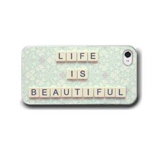 Life is Beautiful, iPhone 6 iPhone 5 4 4s Case, iPhone 4, Mint Green Teal Typography Pastel Pink Cell Phone Case, Accessory for iPhone