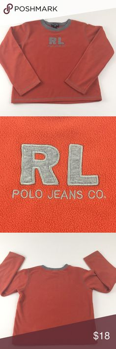 "Ralph Lauren Sweater Polo Jeans CO. Ralph Lauren Orange Sweater. With embroidered "" RL Polo Jeans CO."" In center and grey stitching detail. 100% Polyester. Measurements are approximate. Chest-34"" Length-18"" Polo by Ralph Lauren Shirts & Tops Sweaters"