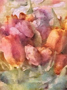 https://flic.kr/p/U2fvAM   Captured Spring   A bouquet of spring tulips in warm, muted tones captured in digital watercolor on a linen texture. I used soft hues of rose pink, peach, yellow, mauve, plum purple and sage green in my floral's color palette. More info: Susan Maxwell Schmidt Visual Fine Art