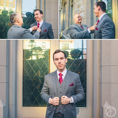 groom and father of groom getting ready, grey suits burgundy ties // st francis xavier college church st louis wedding photographers forte photography & cinema