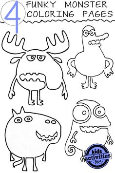 4 {Crazy} Funky Monster Coloring Pages - Kids Activities Blog