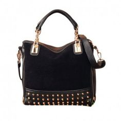 Casual Punk Style and Rivets Zipper Design Women's Tote, BLACK in Tote Bags | DressLily.com