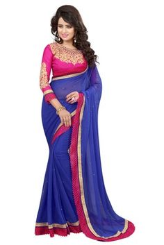 blue embroidered faux georgette saree with blouse - FASHION - 1569400 Georgette Sarees, Lehenga, Blouse, Beautiful, Dresses, Design, Fashion, Vestidos, Moda