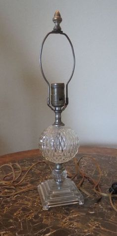 Vintage Glass Crystal Table Lamp 17in 40's-50's #Unknown
