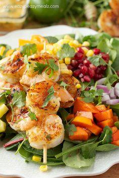 shrimp kabob salad #ezpzmealz #salad