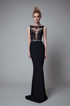 Black Mermaid V Back Evening Dress