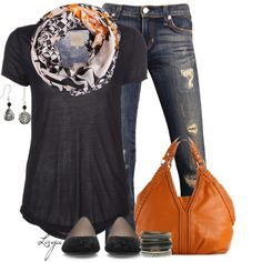 """Basic black tee, great scarf, jeans, flats and a pop of orange in the bag. If you can't wear orange you can bring it in this way. """"Orange!"""" by lagu on Polyvore"""
