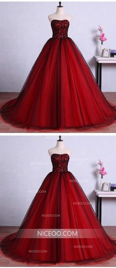 Red A Line Strapless Floor Length Tulle Wedding Dresses Best Ball Gowns Red A Line Strapless Floor Length Tulle Wedding Dresses Best Ball Gowns Inexpensive Bridesmaid Dresses, Cheap Wedding Dresses Online, Red Wedding Dresses, Affordable Wedding Dresses, Tulle Wedding, Gold Wedding, Wedding Shoes, Ball Gowns Fantasy, Masquerade Ball Gowns