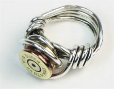 Bullet Shell Ring Sterling Silver - One of a kind Sterling Silver wire wrapped bullet shell casing ring.