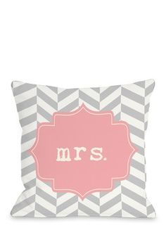 "Mrs. Chevron Pink 18"" x 18"" Zipper Pillow"