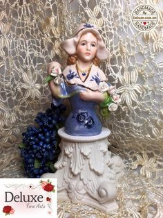 This is a stunning doll! The Dutch girl is well loved by my customers. I decorate her with a garland of handmade porcelain flowers. She is so loving! Half Dolls, Hello Dolly, Pin Cushions, Malta, Dutch, Garland, Bead, Hand Painted, Fine Art