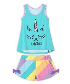 77b1fdeffca4 Sunshine Swing Turquoise 'Caticorn' Tank & Yellow & Blue Stripe Bow Shorts  Set - Toddler & Girls