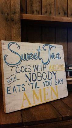 Sweet tea and amen hand painted on block wood by Wendy, Speaks Creations