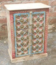 Indian Painted Brass Work Almirah