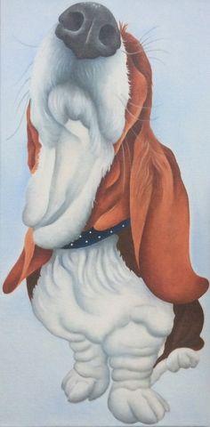 """""""Fudge"""" the basset hound painting"""