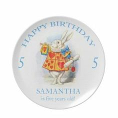 Alice in Wonderland Custom Birthday Gift Plate by Zazzle. $24.95. Alice in Wonderland Custom Birthday Gift Plate The White Rabbit is trumpeting the news! Happy Birthday! A truly charming birthday plate that is the birthday boy or birthday girl's very own special keepsake plate. Personalize with your child's name and age using the personalize it feature. Simply type in your child's name and age in place of the example text. (If you prefer to leave out the age, simply clear...
