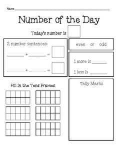 Number of the Day: Daily Number Sense Activity FREEBIE