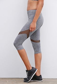 2380f2053d4a Heathered Mesh-Paneled Capri Leggings