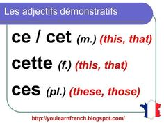 French Lesson 93 - Demonstrative Adjectives THIS THAT - Adjectifs démonstratifs CE CET CETTE CES. - YouTube