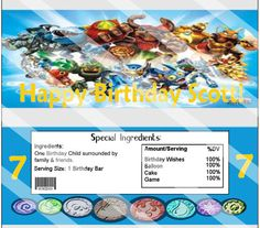 Skylanders Giants Hershey Candy Bar Wrapper Custom Printable Birthday Party Favor