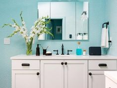 Add eye-catching color and texture to your bath with these ideas.
