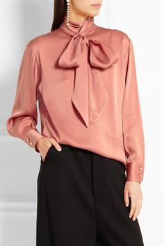 bc8384a4d59c4 Lanvin - Pussy-bow charmeuse blouse. Satin BlousesShirt ...